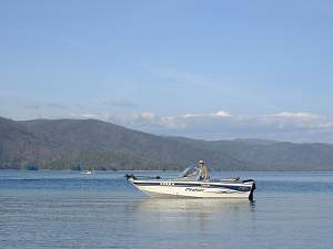 Our boat on Lake Jocassee