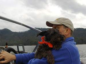 Our dog Gretchen on Lake Jocassee