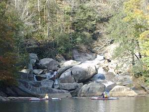 Kayaking close to the Whitewater River