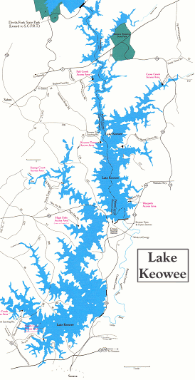 Map of Lake Keowee