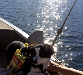 Sadie Rose enjoying her boat on Lake Keowee